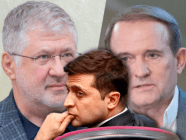 Ukrainian president Volodymyr Zelenskyy in front of images of oligarchs Ihor Kolomoyskyi and Viktor Medvedchuk (Collage by Espreso.TV)