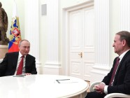 "March 10, 2020 meeting of Vladimir Putin with Viktor Medvedchuk, a Ukrainian oligarch and the head of the pro-Russian party ""Oppositional Platform -- For Life"" represented in the Ukrainian parliament where he is a deputy and the head of his party's faction. The Kremlin, Moscow. (Source: kremlin.ru)"