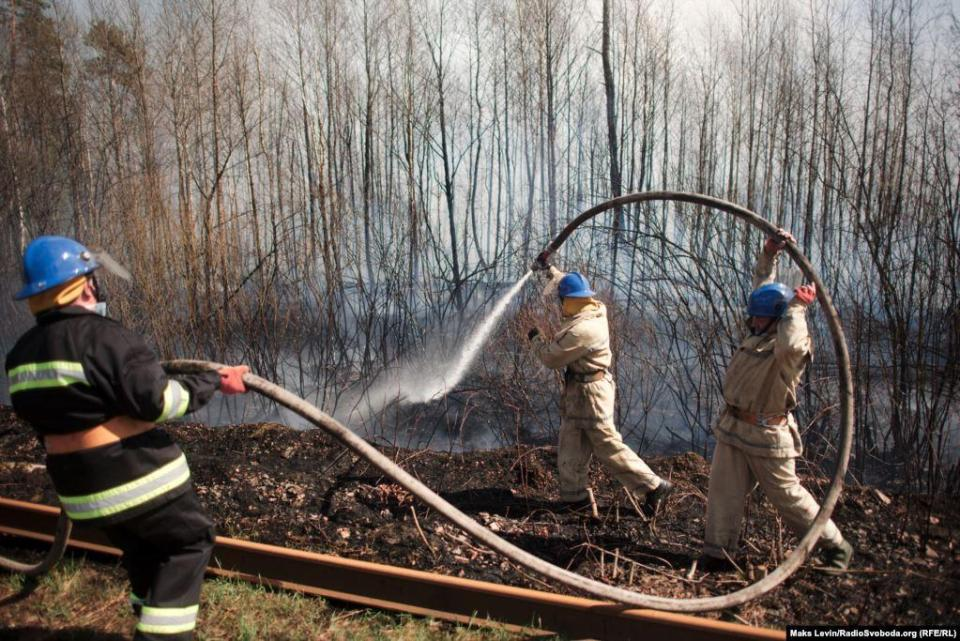 Firefighters are watering a burning forest strip near the railroad track