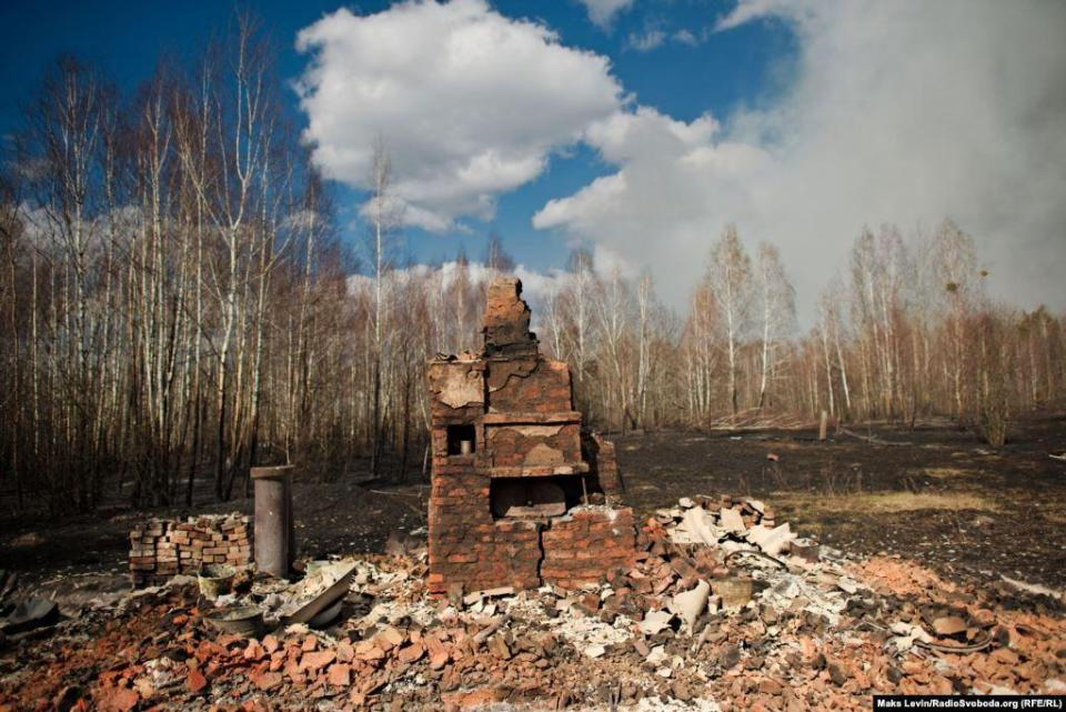 The burned down house, the village of Magdin