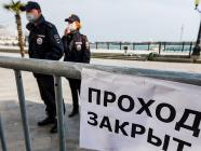 Policemen enforcing COVID-19 regime in Yalta on the Russia-annexed Ukrainian peninsula of Crimea, May 2020