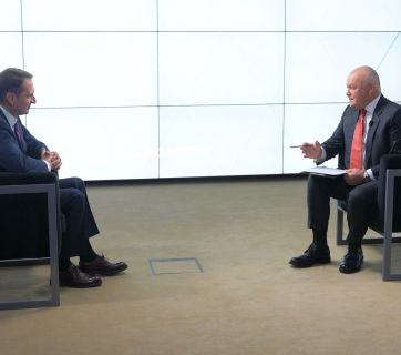 SVR Director Sergei Naryshkin is interviewed by Dmitry Kiselyov, TV anchor and general director of Rossiya Segodnya (Source: RIA Novosti)
