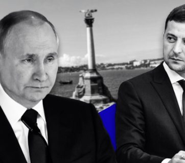 Vladimir Putin and Volodymyr Zelenskyy over a photograph of the Monument to the Sunken Ships in the city of Sevastopol on Russia-occupied Crimea (Collage by RFE/RL Graphics)