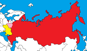 Map: Russia (red), Belarus (pink), and Ukraine (yellow)