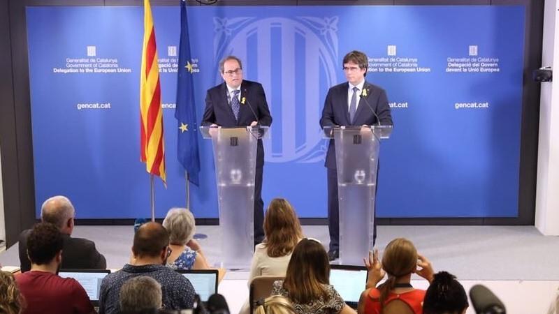 Puigdemont y Torra en rueda de prensa en Belgica