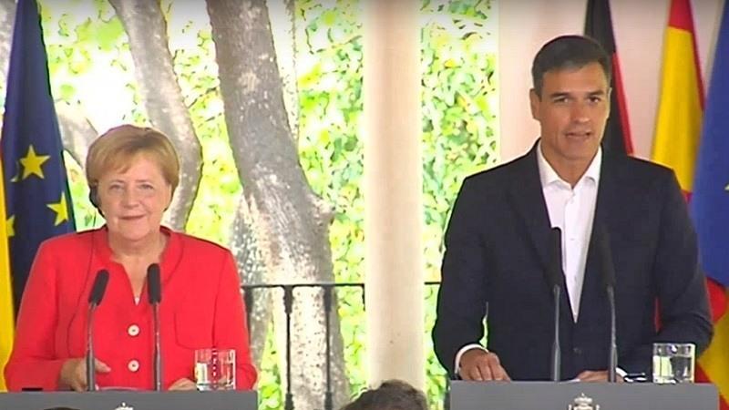 Conferencia de prensa Angela Merkel y Pedro Sanchez sobre migracion