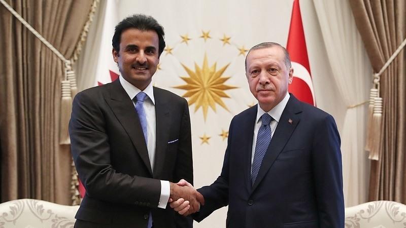Erdogan con su homolo Qtari, TamimBinHamad