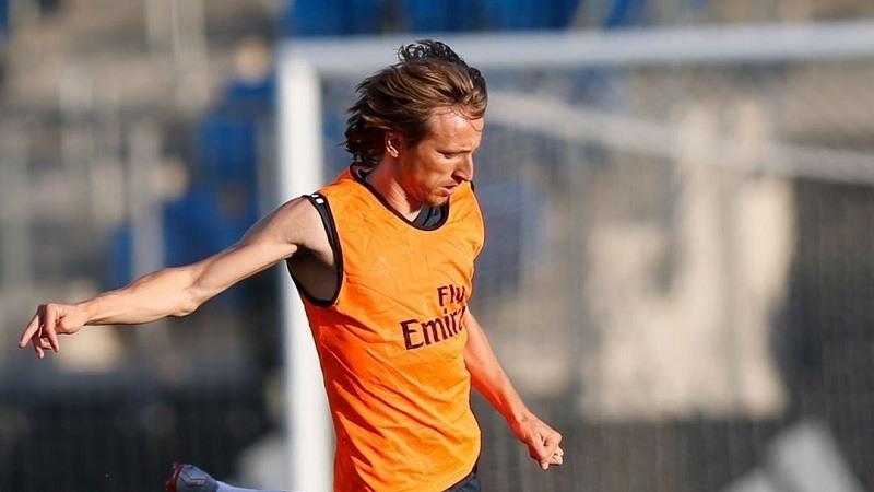Luca Modric en un Entrenamiento con el Real Madrid