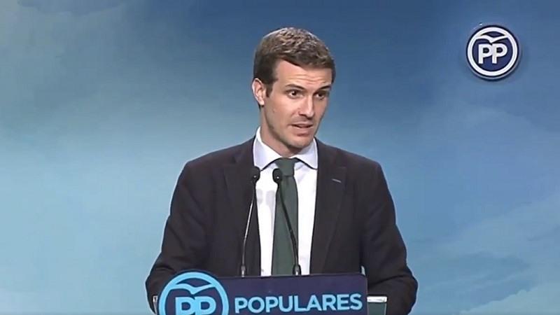 Pablo Casado durante su comparecencia en la sede del PP