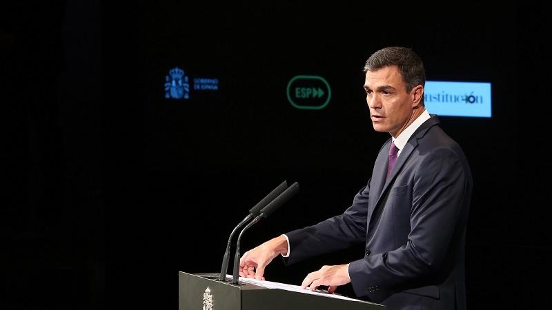 El presidente del Gobierno, Pedro Sanchez, durante su intervención en el acto Avanzamos con motivo de los cien dias de Gobierno