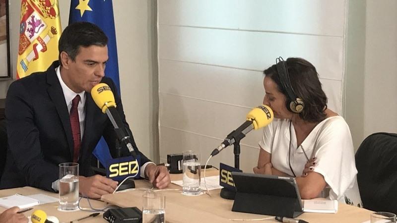 Pedro Sanchez y Pepa Bueno, en la entrevista de la Cadena Ser. CADENA SER