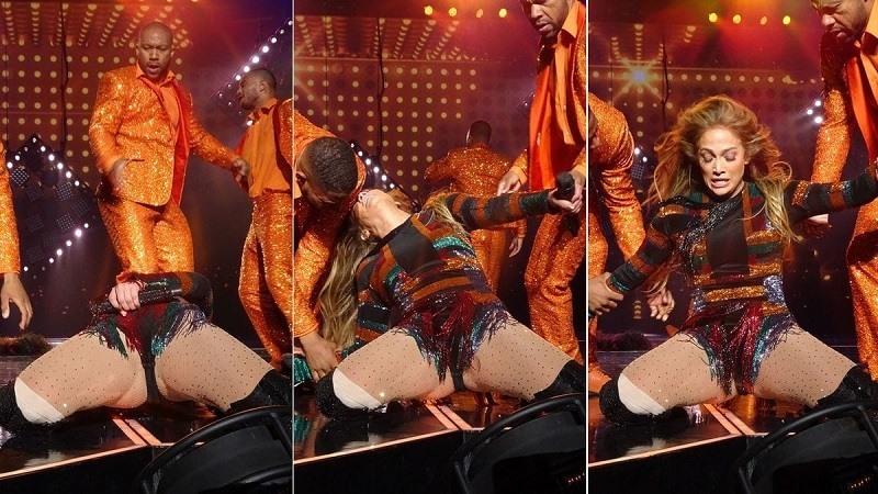 La caida de Jennifer Lopez en pleno espectaculo en Las Vegas