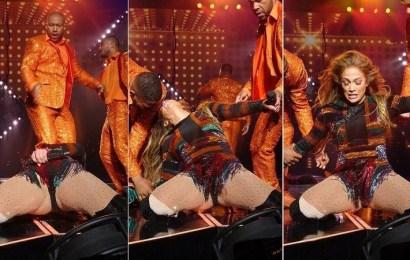 La incómoda caída que sufrió Jennifer López en pleno show en Las Vegas
