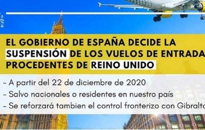 España suspende los vuelos de entrada procedentes del Reino Unido