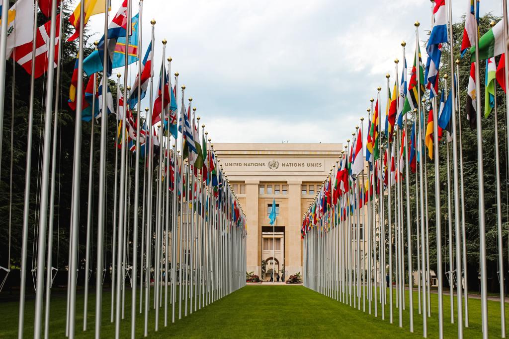 Flaggor vid ingång till FN-kontor (bild)