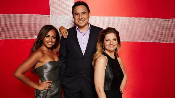 Jessica Mauboy - SBS hosts Julia Zemiro and Sam Pang will be helping her to negotiate the mammoth production.Jessica Mauboy con Sam Pang e Julia Zemiro, commentatori dell'Eurovision per l'Australia