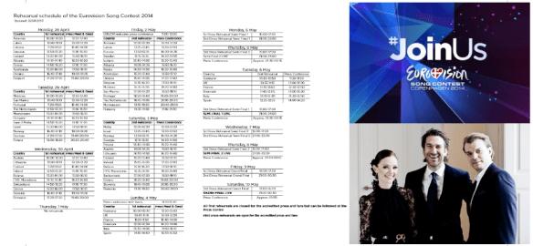 eurovision 2014 rehearsal schedule