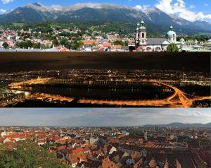 Host Cities 2015: Innsbruck (top), Vienna and Graz are still in the running