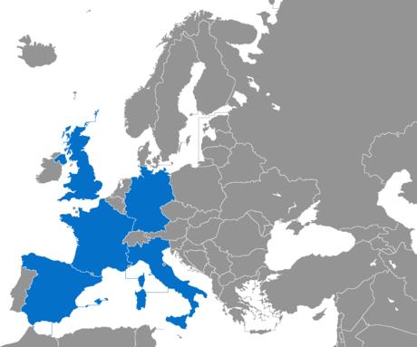 """In blu i """"Big five"""": Francia, Germania, Italia, Regno Unito e Spagna"""