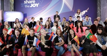 Participants of the Junior Eurovision Song Contest 2019 meet the press.jpg