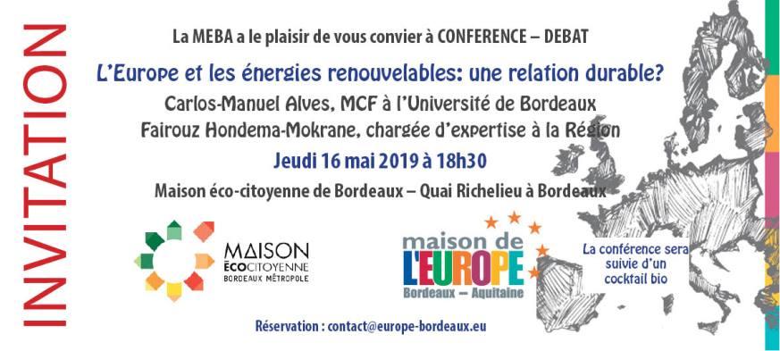 """""""L'Europe et les énergies renouvelables: une relation durable?"""" - 16 mai 2019"""