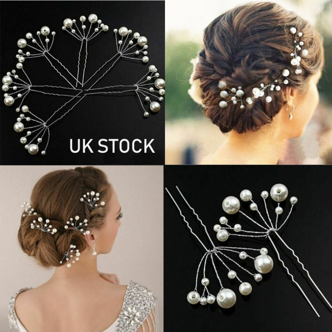 details about 5/10pcs flower wedding bridal hair pins pearl diamante prom hair clips grips uk