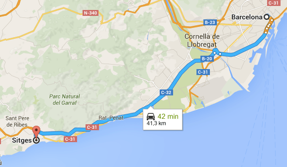 How to get to Sitges by car