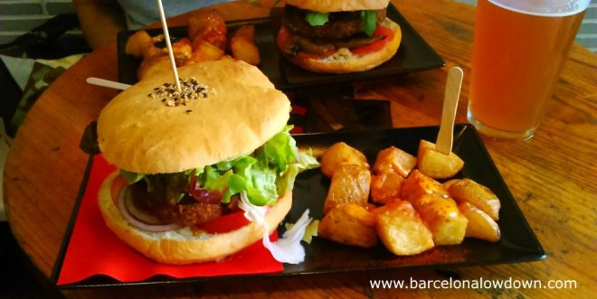 veggie-burger-and-patatas-bravas
