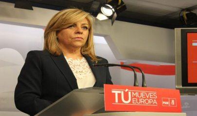 Elena Valenciano en la comparecencia en Ferraz