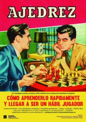 Afiche del taller de ajedrez que organiza el Departamento de Diseño, Arte y Contenidos Digitales de la UEM.
