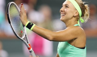 LWS150. Indian Wells (United States), 17/03/2017.- Elena Vesnina of Russia reacts after her win against Kristina Mladenovic of France during their semi final match of the 2017 BNP Paribas Open tennis tournament at the Indian Wells Tennis Garden in Indian Wells, California, USA, 17 March 2017. (Abierto, Tenis, Rusia, Francia, Estados Unidos) EFE/EPA/DANIEL MURPHY