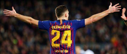 GRAF5503. BARCELONA, 11/12/2018.- El defensa belga del FC Barcelona Thomas Vermelen,durante el partido de la sexta jornada de la fase de grupos de la Liga de Campeones ante el Tottenham disputado esta noche en el Camp Nou, en Barcelona. EFE/Alejandro García