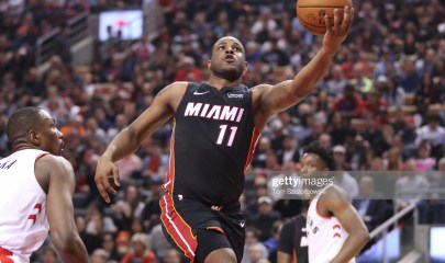 TORONTO, ON - APRIL 07: Dion Waiters #11 of the Miami Heat goes to the basket and scores in the second quarter against the Toronto Raptors at Scotiabank Arena on April 7, 2019 in Toronto, Canada. NOTE TO USER: User expressly acknowledges and agrees that, by downloading and or using this photograph, User is consenting to the terms and conditions of the Getty Images License Agreement. (Photo by Tom Szczerbowski/Getty Images)