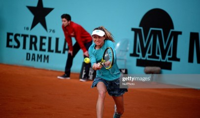 Aliaksandra Sasnovich (BLR) vs Anett Kontaveit (EST) during day one of the Mutua Madrid Open at La Caja Magica in Madrid on 4th May, 2019. (Photo by Juan Carlos Lucas/NurPhoto via Getty Images)
