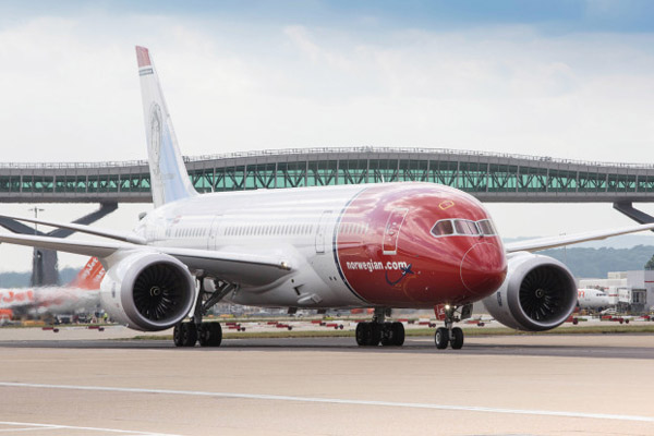 Norwegian Boeng 787 at London-Gatwick