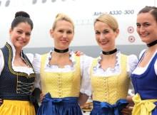 Lufthansa crew in traditional Bavarian dresses