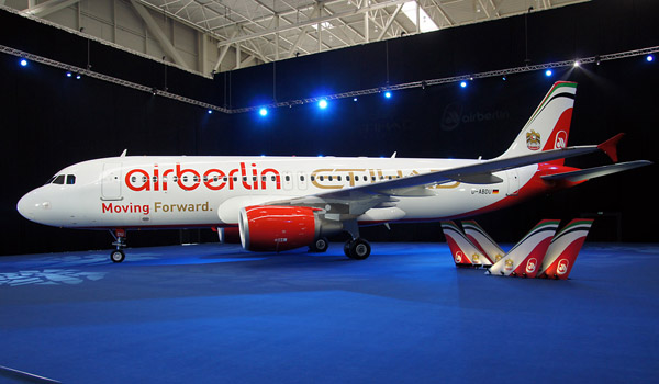 Air Berlin Airbus A320 in mixed Etihad colours