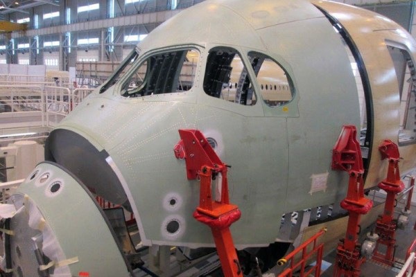 """The """"nose fuselage"""" section of Thai Airways International (THAI)'s first A350 XWB aircraft has been delivered to Airbus in Saint-Nazaire, France for assembly and equipping (© Airbus)"""