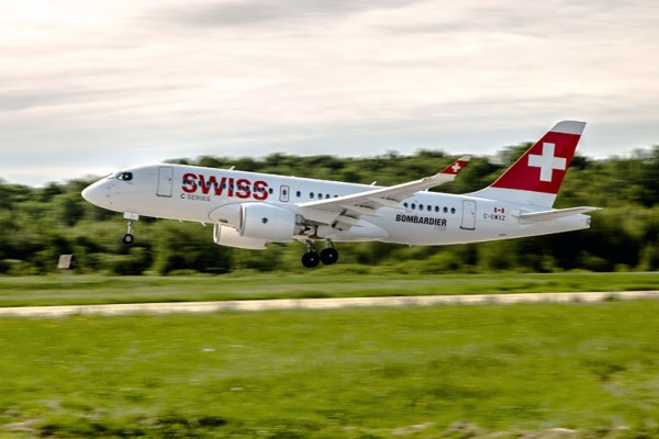 Bombardier CS100 in Swiss-Bemalung (© Bombardier)