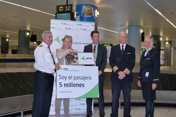 Der Flughafen Fuerteventura zählte erstmals 5 Millionen Passagiere im Jahr (© AENA)