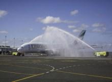 Feierliche Begrüßung des Emirates-Erstflugs Dubai-Auckland (© Emirates)