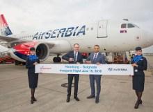 Erstflug der Air Serbia zwischen Hamburg und Belgrad am 15.6.2016 (© HAM Airport)