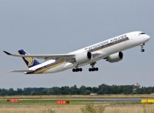 Airbus A350 der Singapore Airlines (© DUS Airport)