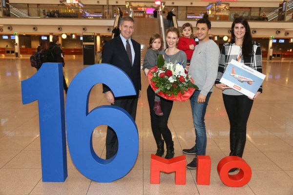 Am 27.12. 2016 registrierte der Flughafen Hamburg erstmals den 16-millionsten Passagier innerhalb eines Jahres