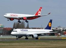 Flugzeuge von Lufthansa und Air Berlin (© O. Pritzkow)