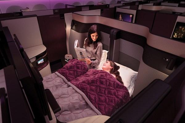 QSuite als Doppelbett (© Qatar Airways)