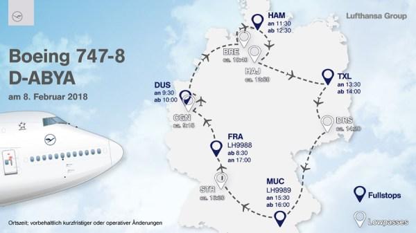 Geplante Deutschland-Tour der 747-8 im neuen Look am 8.2. 2018 (© LH)