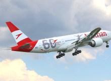 Austrian Airlines Boeing 777 mit Sonderbeklebung zum 60. Jubiläum (Foto: D. Egger für AUA)