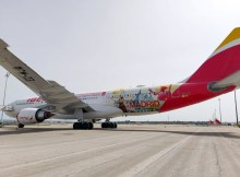 Iberia A330-200 - beklebt mit Szenen aus Madrid (Foto: Iberia