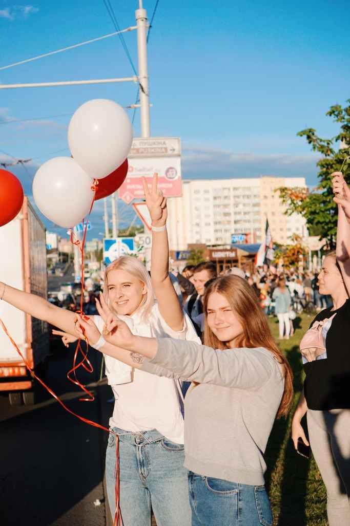 female protesters in belarus